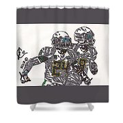 Kenjon Barner And Marcus Mariota Shower Curtain by Jeremiah Colley