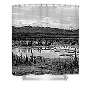 Kettle Pond And The Alaska Range Shower Curtain