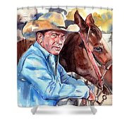 Kevin Costner Portrait Shower Curtain