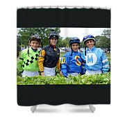 Kevin Gomez, Jomar Torres, Horacio Karamanos And Jevian Toledo - Laurel Park Shower Curtain