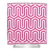 Key Maze With Border In French Pink Shower Curtain