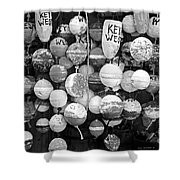 Key West Lobster Buoys Black And White Shower Curtain