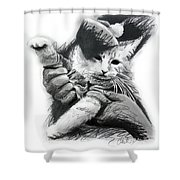Keyboard Cat In Pencil Shower Curtain