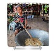 Khmer Girl Makes Sugar Cane Candy Shower Curtain