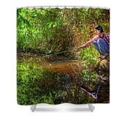 Khmer Woman Fishing - Cambodia Shower Curtain