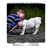 Kid And His Dog Shower Curtain