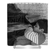Kid Drinking From The Fountain Shower Curtain
