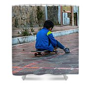 Kid Skateboarding Shower Curtain