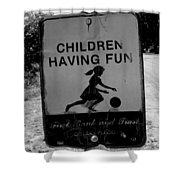 Kids At Play Sign Shower Curtain