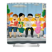 Kids At The Bus Stop Shower Curtain