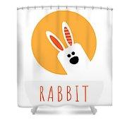 Kids Rabbit Poster Shower Curtain