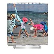 Kid's Yoga Class On Wingaersheek Beach Shower Curtain
