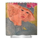 Kim Alexis In Flowery Hat Shower Curtain
