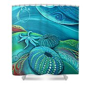 Kina Sea Anemone With  Stingray By Reina Cottier Shower Curtain