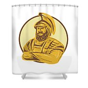 King Agamemnon Arms Crossed Circle Drawing Shower Curtain