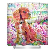 King Charles Spaniel Pastel Watercolors Shower Curtain