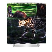 King Cheetah And 3 Cubs Shower Curtain