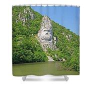 King Decebal, Rock Sculpture Shower Curtain