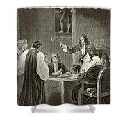 King James II Of England Facing Bishops Shower Curtain