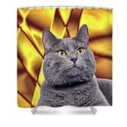 King Kitty With Golden Eyes Shower Curtain