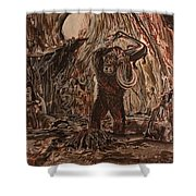 King Kong - Kong Battles A Serpentine Dinosaur Shower Curtain