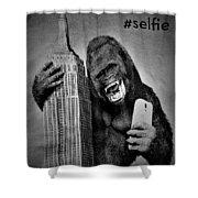 King Kong Selfie B W  Shower Curtain