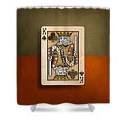 King Of Clubs In Wood Shower Curtain