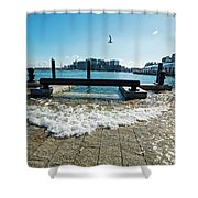 King Tide On The Boston Waterfront Boston Ma Shower Curtain