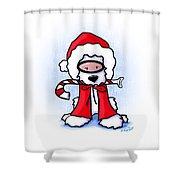 Kiniart Snorkel Westie Santa Shower Curtain