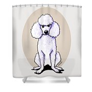Kiniart White Poodle Shower Curtain
