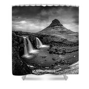 Kirkjufellsfoss Dawn Monochrome  Shower Curtain