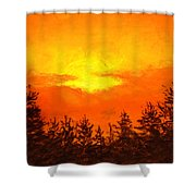 Kissed Pines Shower Curtain