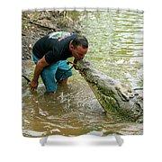 Kissing A Crocodile Shower Curtain
