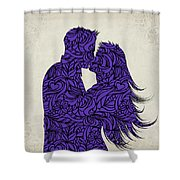 Kissing Couple Silhouette Ultraviolet Shower Curtain