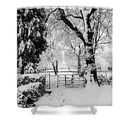 Kissing Gate In The Snow Shower Curtain