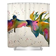 Kissing Moose Shower Curtain