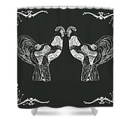 Kissing Roosters 1 Shower Curtain