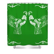 Kissing Roosters 3 Shower Curtain
