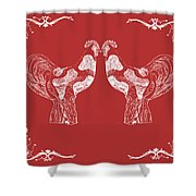 Kissing Roosters 4 Shower Curtain