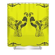 Kissing Roosters 5 Shower Curtain