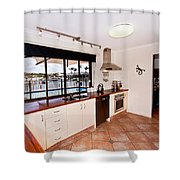 Kitchen With A River View Shower Curtain