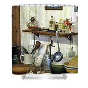 Kitchen With Wire Basket Of Eggs Shower Curtain