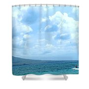 Kite Surfing With A Nevis Background Shower Curtain