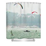 Kiteboarding In The San Francisco Bay Shower Curtain