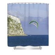 Kitesurfer At Yaverland Shower Curtain