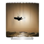 Kitesurfing At Sunset Shower Curtain