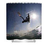 Kitesurfing In The Mediterranean Sea Shower Curtain by Hagai Nativ