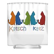 Kitsch Cats Silhouette Cat Collage Pattern Isolated Shower Curtain