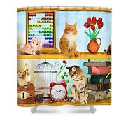 Kitten Hideout Shower Curtain