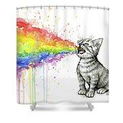 Kitten Tastes The Rainbow Shower Curtain